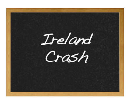 Isolated blackboard with Ireland crash. photo