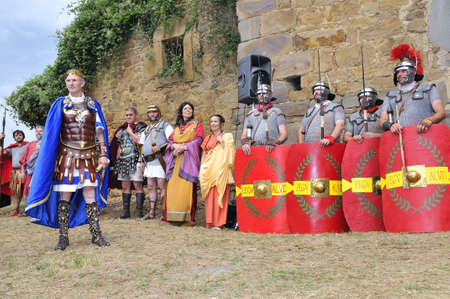 CARABANZO, SPAIN - AUGUST 21: Recreation of the battle between the Romans and Asturian on August 21, 2011 in Carabanzo, Spain.