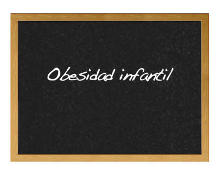 childhood obesity: Isolated blackboard with childhood obesity