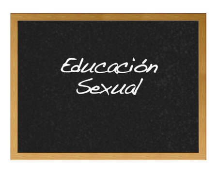 sex education: Isolated blackboard with sex education.