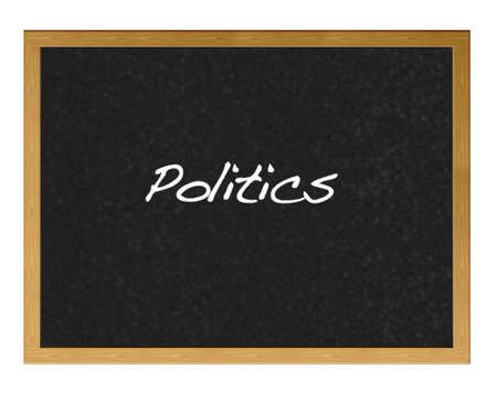Isolated blackboard with politics. photo