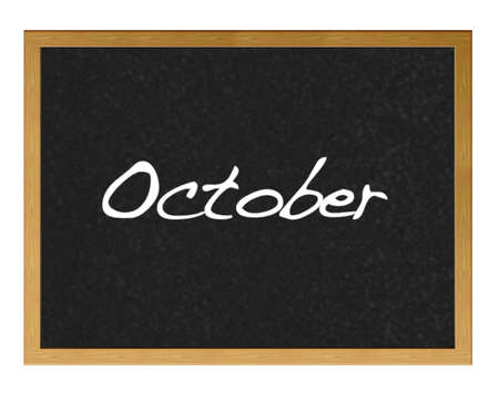 Isolated blackboard with October. photo