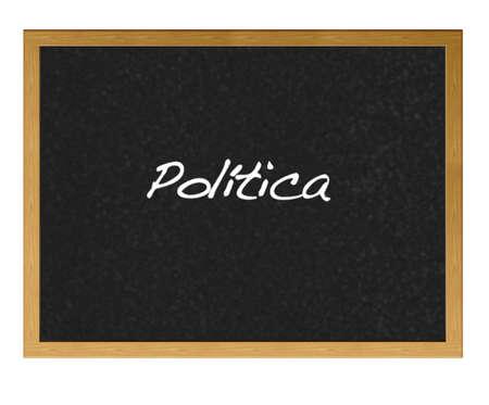 Isolated blackboard with politics. photo