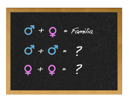 Isolated blackboard with opposite sex.
