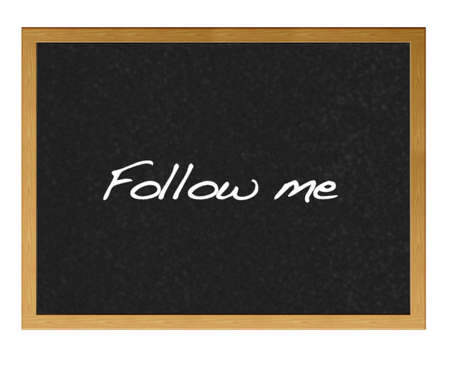 Isolated blackboard with follow me. photo