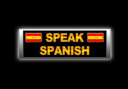 Illuminated sign with speak spanish. photo