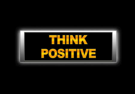 Illuminated sign with think positive. Stock Photo - 14067620