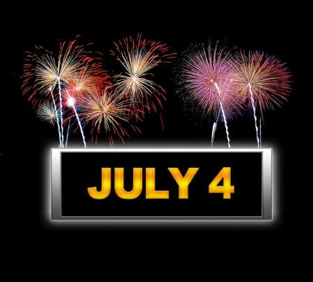 Illuminated sign with July 4. Stock Photo - 14067652
