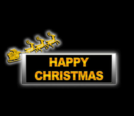 Illuminated sign with happy christmas. Stock Photo - 14067674