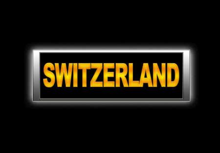 Illuminated sign with Switzerland  Stock Photo - 14067722