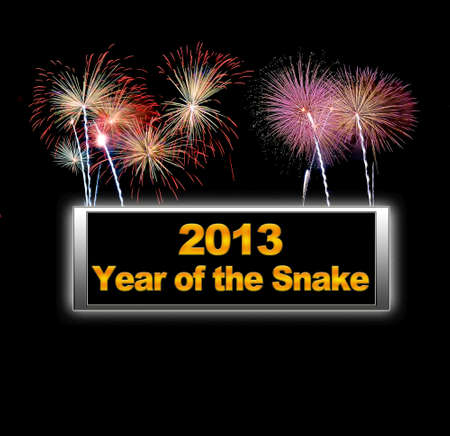 Fireworks, Year of the snake. Stock Photo - 14067731