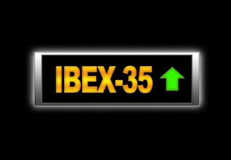 35: Letrero luminoso con el Ibex 35.