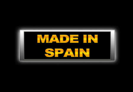 made in spain: Illuminated sign with Made in Spain. Stock Photo