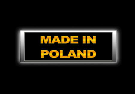Illuminated sign with Made in Poland. photo
