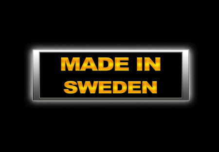 Illuminated sign with Made in Sweden. photo