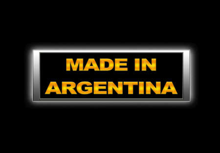Illuminated sign with Made in Argentina. photo