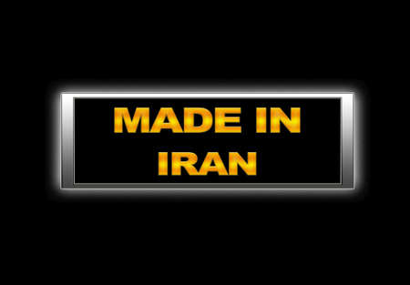 Illuminated sign with Made in Iran. photo
