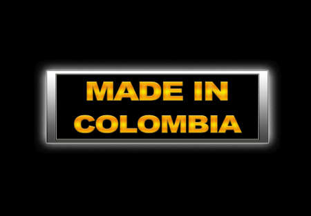 Illuminated sign with Made in Colombia. photo