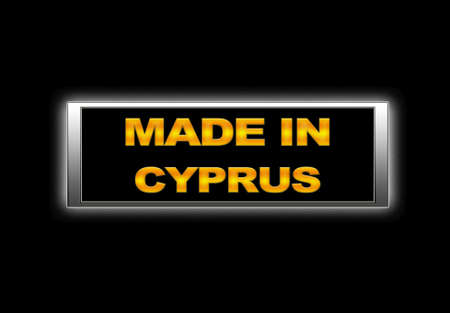 Illuminated sign with Made in Cyprus. photo