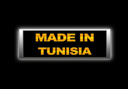 Illuminated sign with Made in Tunisia. photo
