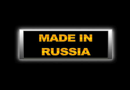 Illuminated sign with Made in Russia. photo