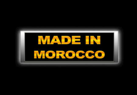 made in morocco: Illuminated sign with Made in Morocco. Stock Photo