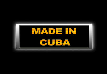 Illuminated sign with Made in Cuba. photo