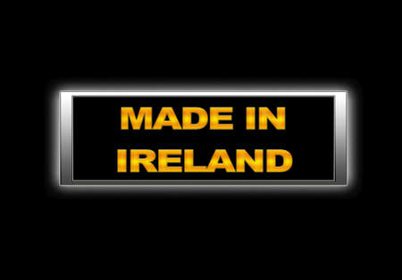 Illuminated sign with Made in Ireland. photo