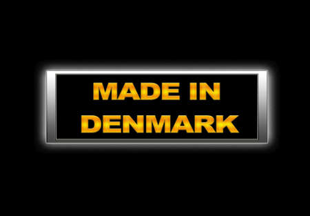 Illuminated sign with Made in Denmark. photo