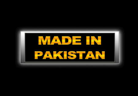 Illuminated sign with Made in Pakistan. photo