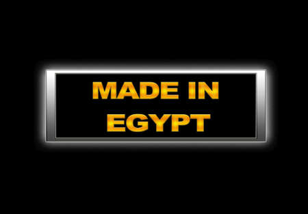 Illuminated sign with Made in Egypt. photo