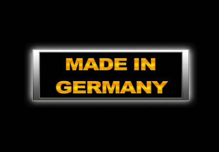 Illuminated sign with Made in Germany. photo