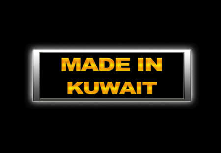 Illuminated sign with Made in Kuwait. photo