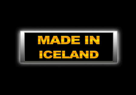 Illuminated sign with Made in Iceland. photo