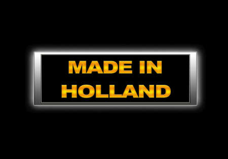 Illuminated sign with Made in Holland. photo