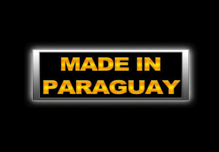 Illuminated sign with Made in Paraguay. photo