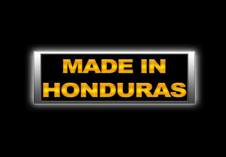 Illuminated sign with Made in Honduras. photo