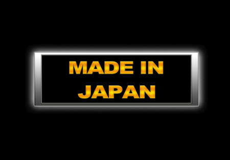 Illuminated sign with Made in Japan. photo