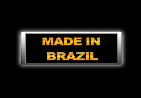 Illuminated sign with Made in Brazil. photo