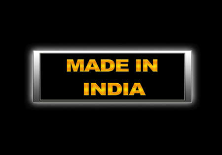 Illuminated sign with Made in India. photo
