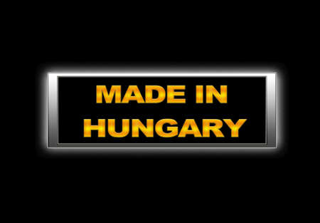 Illuminated sign with Made in Hungary. photo