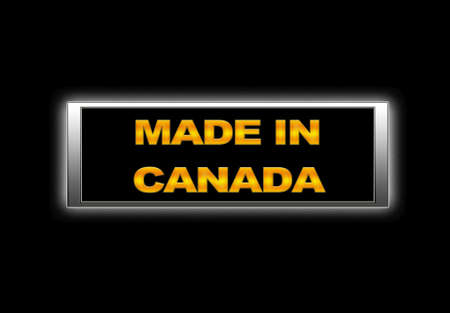 Illuminated sign with Made in Canada. photo