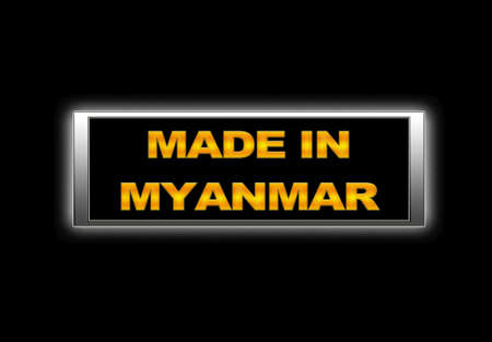 Illuminated sign with Made in Myanmar. photo