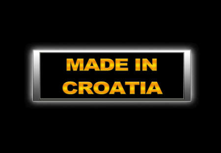 Illuminated sign with Made in Croatia. photo
