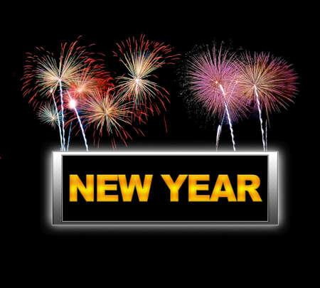 Illuminated sign with New year. Stock Photo - 14165324