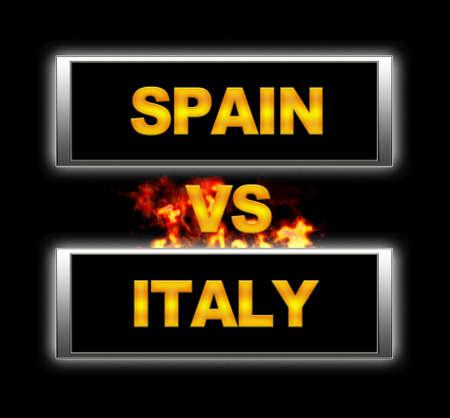 Illuminated sign with Spain vs Italy. Stock Photo - 14255452