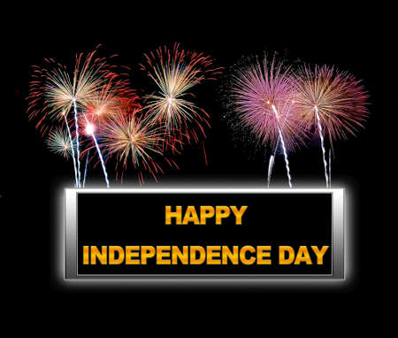 Illuminated sign with Independence day. Stock Photo - 14332286