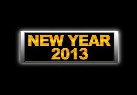 Illuminated sign with New year 2013. photo