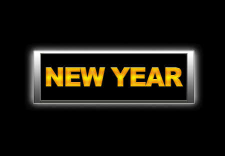 Illuminated sign with New year  Stock Photo - 14799792