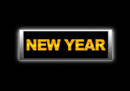 Illuminated sign with New year  photo